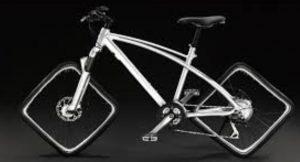 Un vélo aux roues carrées.
