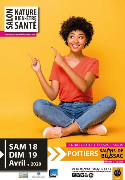 Affiche du salon nature bien-être et santé qui se déroulera aux Salons de Blossac à Poitiers les samedi 18 et dimanche 19 avril 2020.